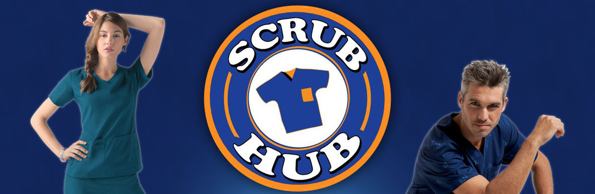 scrub hub logo with people modeling scrubs