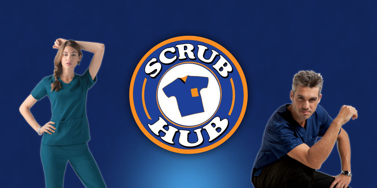 scrub hub logo with people modeling scrubs