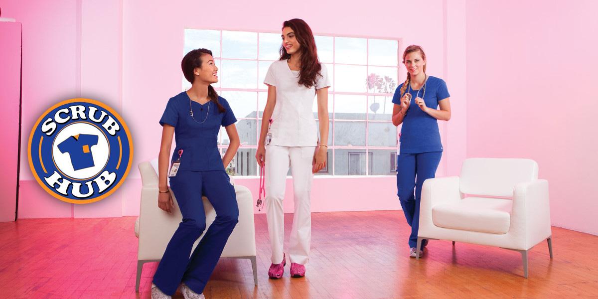 three nurses modeling scrubs from scrub hub