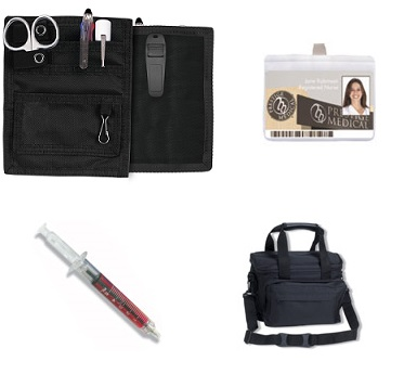medical organizer with badge reel, syringe and medical bag.