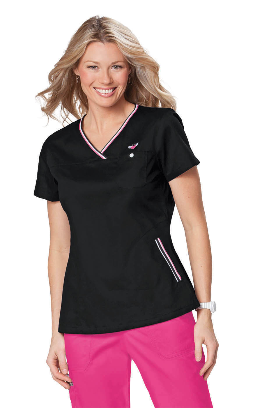 KOI Scrubs - Black and Pink